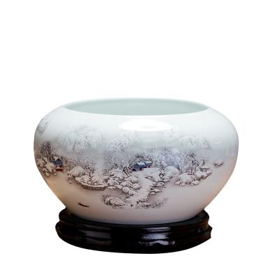 景德镇陶瓷器 水点桃花小金鱼缸睡莲碗莲缸乌龟缸 笔洗摆件 c161
