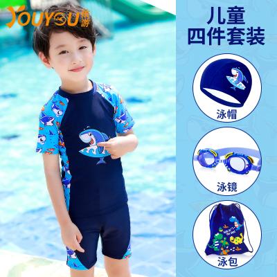 ?佑游兒童游泳衣男童分體寶寶中大童小孩分體平角褲學生游泳褲泳衣泳裝套裝兒童泳衣/褲