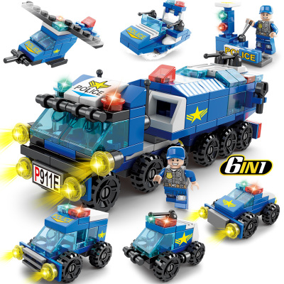 匯奇寶 兼容樂高積木男孩工程車城市建筑警察局兒童益智力工程拼裝汽車玩具塑料6-14歲 城市警察【整套六款7造型】