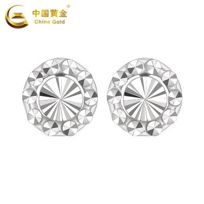 【中國黃金】PT950鉑金鉆石花耳釘 女士白金耳釘耳環耳飾(計價)