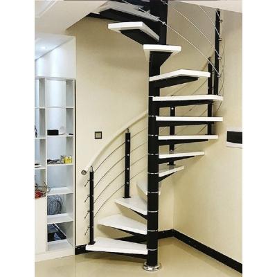 閃電客旋轉樓梯閣樓復式樓室內家用中柱旋轉樓梯圓形鋼木現代躍層廠家 加厚3.5mm托盤+40mm踏板+普通護欄