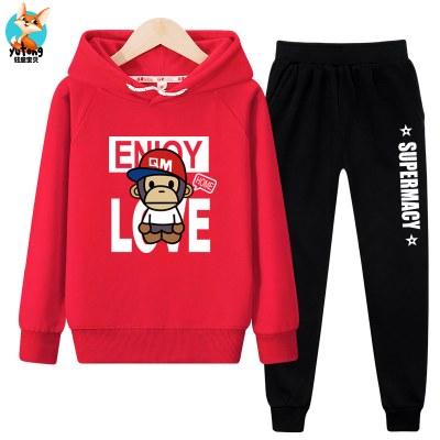 抹炫(MOXUAN)2019春秋潮款儿童红色卫衣衣服中大童12岁秋装大男童洋气运动套装