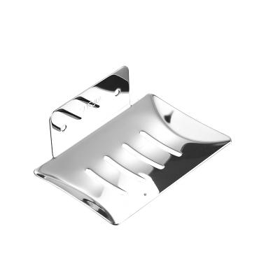 家佰利免打孔肥皂盒衛生間浴室瀝水香皂架子壁掛式304不銹鋼皂碟置物盒 銀色