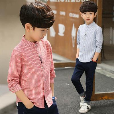 欧蔓得新款2019春装立领上衣童装男童衬衫长袖儿童春秋韩版洋气衬