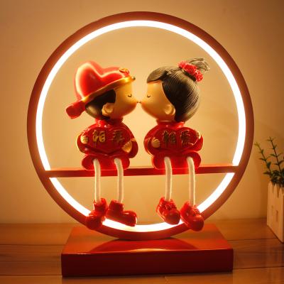 瑞仕茲 結婚禮物實用擺件中國風手工娃娃實用高檔婚房禮品創意婚慶臺燈送閨蜜朋友新婚禮物結婚紀念日禮品送老婆