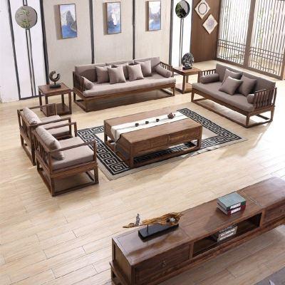 現代新中式實木禪意沙發組合簡約中國風別墅會所客廳整裝定制家具