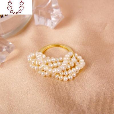 法式優雅輕奢純手工棉線編織多層天然淡水珍珠戒指超仙氣質指環女 Chunmi