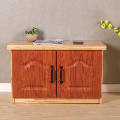 實木簡易換鞋凳長條凳可坐鞋柜家用經濟型現代簡約進玄關柜 60長柚木色2門