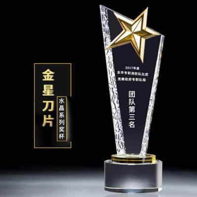 中号酸洗奖杯定制水晶奖牌定做 公司颁奖金属五角星学校纪念品
