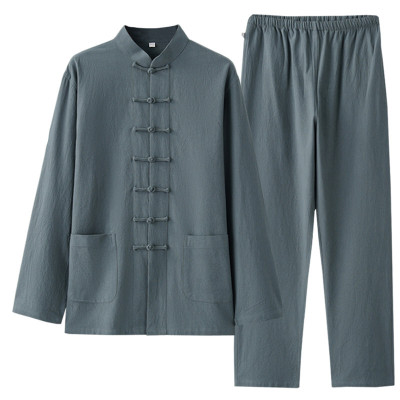 因樂思(YINLESI)長袖亞麻套裝中式漢服中老年唐裝男青年中國風古裝中山裝居士服男定制