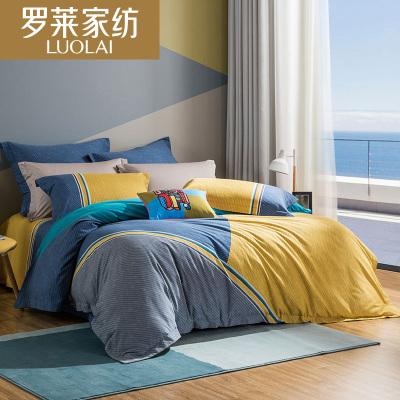 罗莱家纺床上用品秋冬全棉纯棉磨毛加厚套件被套床单四件套布鲁斯韩式床品韩式床品床单被套冬季1.8米床1.5米床床品套件