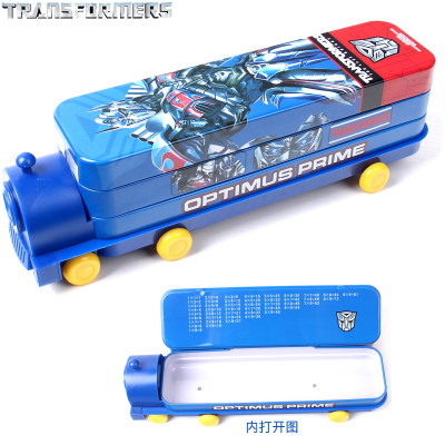 迪士尼汽车造型文具盒小学生铁笔盒男童三层儿童书架铅笔盒多功能