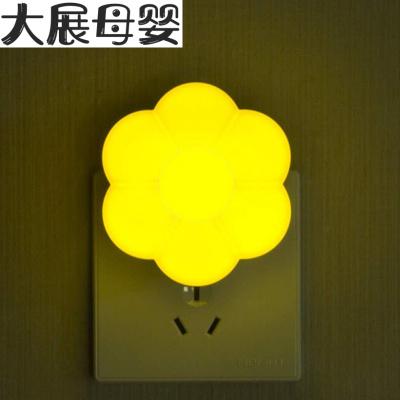 小夜燈節能插電開關/光控感應led臥室女生宿舍床頭嬰兒喂奶護眼燈 光控--梅花黃2個