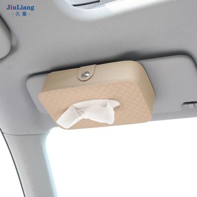 久量車載紙巾盒創意衛生紙汽車抽紙盒車上車內裝飾用品大全車用 掛式紙巾盒【米色】