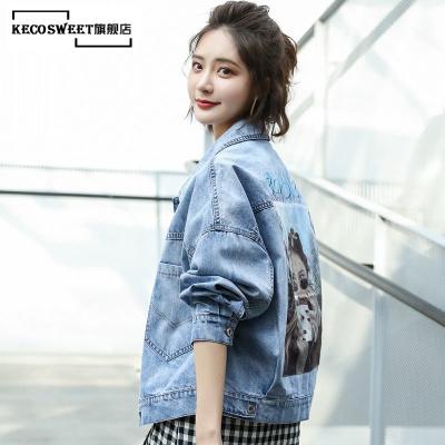 keco sweet 牛仔外套女装宽松学生韩版bf2019春季新款百搭牛仔褂短款牛仔衣潮