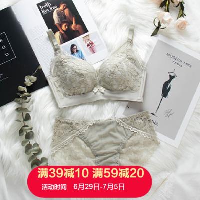 朗衣貝(Lang Yi Bei)2020新款女士內衣無鋼圈大胸顯小聚攏柔軟加厚調整型收副乳文胸套裝胸罩80365#