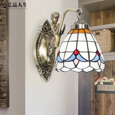 藝品人生 現代簡約溫馨家居客廳裝飾玻璃壁燈歐式創意臥室床頭過道鐵藝led燈飾