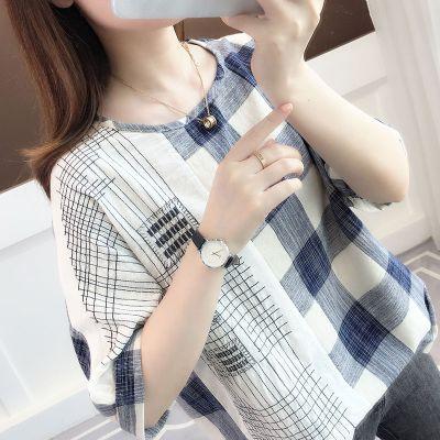 芷臻zhizhen純棉大碼女裝T恤女文藝格子印花夏季半袖條紋寬松2020新款短袖