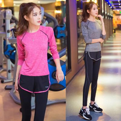 瑜伽服健身房运动套装女士显瘦涤纶春季初学者专业跑步健身服闪电客