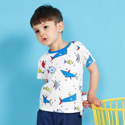 【99元4件】moomoo童裝男童上裝夏季新款幼童休閑圓領純棉卡通男童短袖T恤