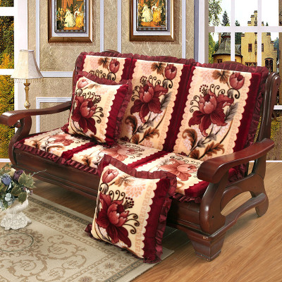 花語繽紛 加厚防滑沙發坐墊 紅木實木沙發墊 長椅墊可拆洗 木椅子坐墊
