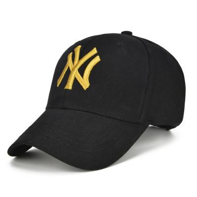 帽子男士春夏户外防晒休闲运动帽旅游NY太阳帽女棒球帽子遮阳 纯色版黑色金绣_可调节