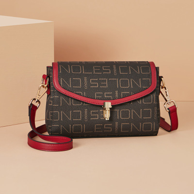 蔻一(Cnoles)包包女包新品經典LOGO印花單肩包女時尚大氣斜挎女包歐美潮流女包