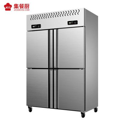 集餐廚四門冰箱商用立式四開門冰柜廚房雙溫冰箱大容量四門不銹鋼冷柜 四門雙溫銅管800L