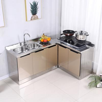 闪电客全不锈钢橱柜简易厨房柜子组装灶台柜碗柜整体橱柜玻璃门板经济型 H款-松木色 餐边柜 双门