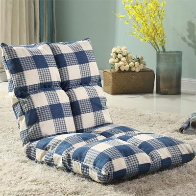 懒人沙发榻榻米可折叠单人小沙发床上电脑椅宿舍飘窗日式靠背椅定制! 深蓝白格