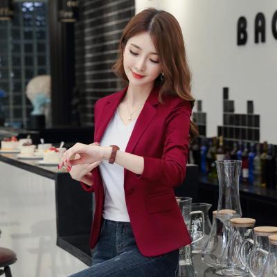 紅色小西裝女短款2020新款秋季韓版女士修身洋氣顯瘦休閑西服外套