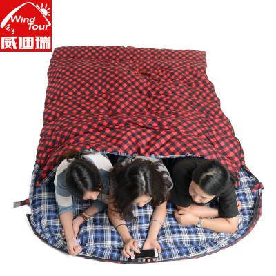 威迪瑞情侶雙人睡袋加寬加厚保暖2人戶外野營室內午休成人雙人棉睡袋