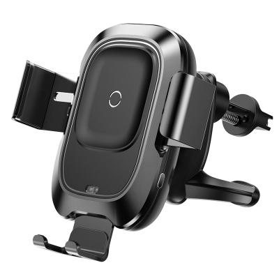 倍思(Baseus)无线充车载手机支架 车载充电器黑色金属手机架充电器 出风口式导航底座