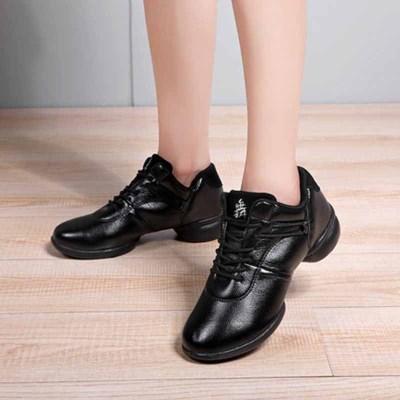 秋冬季舞蹈鞋女鞋成人廣場舞鞋系帶PU軟底跳舞鞋大碼舞蹈鞋女
