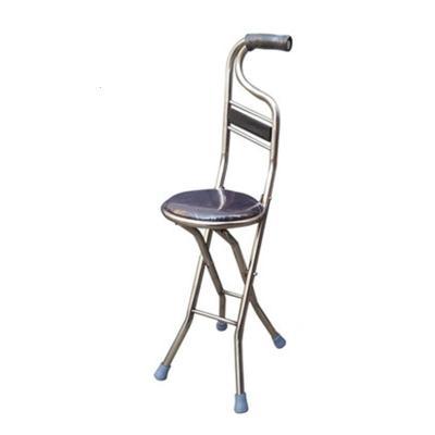 手杖凳老人坐凳拐棍手杖椅不锈钢拐杖凳带靠背可折叠带座防滑吸汗手柄