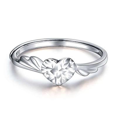 珂兰钻石 时尚 Pt950铂金白金活口铂金戒指 心型女款女士 心意 情人节礼物送女友