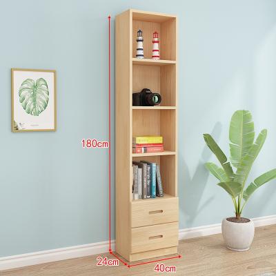 閃電客實木書柜書架自由組合簡約落地儲物收納柜多功能兒童松木書櫥帶門 原木無漆抽屜組合B款