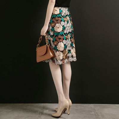 臘爸臘媽水溶蕾絲半身裙女2020夏繡花過膝一步裙重工刺繡網紗包臀A字裙