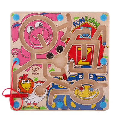 Hape快樂農場迷宮年齡段2-6歲磁性運筆走珠迷宮農場動物兒童多人互動益智玩具早教