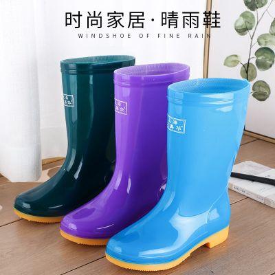 新款中筒加絨雨鞋雨靴防水鞋膠鞋套鞋水靴女時尚成人防滑高筒雨鞋 莎丞