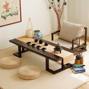 杞沐老榆木榻榻米桌子实木炕桌新中式茶桌禅意茶室矮桌日式茶几茶台桌图片