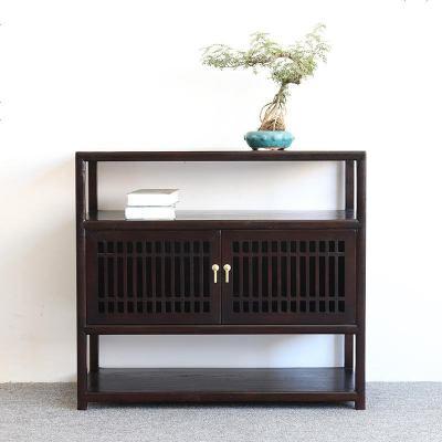 现代新中式实木餐边柜简约复古玄关柜客厅装饰柜子定制茶水储物柜