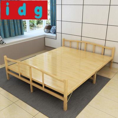 現代簡約折疊床單人雙人床家用午休租房床1.2實木板式簡易竹子床1.5米竹床871