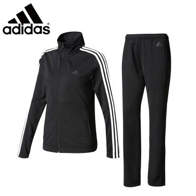 阿迪達斯 (adidas)運動套裝 女子春秋跑步健身服運動兩件套長袖休閑套裝透氣速干乒乓網球羽毛球訓練服 女款黑色套裝B