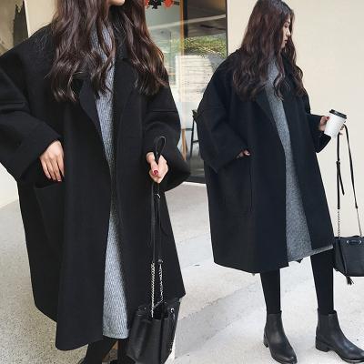 佐衣微2020大碼女裝寬松廓形毛呢外套中長款大碼繭型呢子