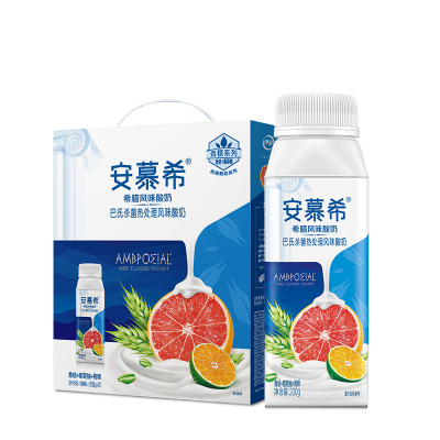伊利 安慕希希臘風味酸牛奶 青桔葡萄柚+青稞味200g*10盒裝
