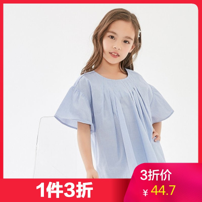 【1件3折價:44.7】米喜迪mecity童裝春新款女童短袖襯衫喇叭袖兒童洋氣襯衫寬松