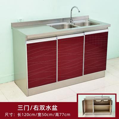 不銹鋼櫥柜簡易水槽家用廚柜組裝灶臺精鋼玻璃碗柜整體柜子 120*50右雙盆