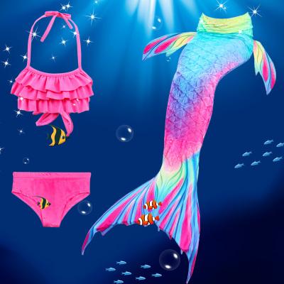 儿童美人鱼泳衣女孩宝宝可爱公主美人鱼尾巴游泳衣比基尼温泉泳装