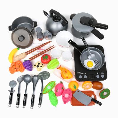 紐奇(Nukied)兒童過家家玩具1-3-6歲男女孩切切樂仿真鍋具帶電磁爐廚房做飯玩具套裝
